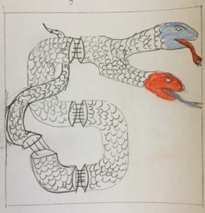 Sketch of illuminated letter on paper